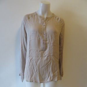 VINCE TAUPE TAUPE SILK LONG SLEEVE BLOUSE M *